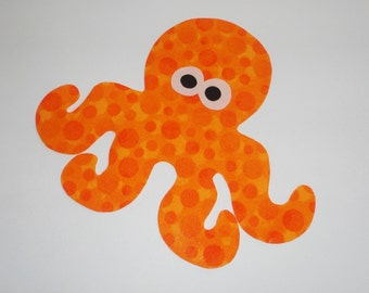 Iron On Applique Orange BUBBLE Dot OCTOPUS