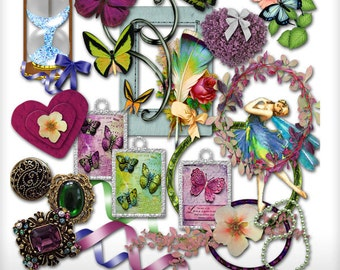 Butterfly Touch Embellishments Digital Scrapbooking Kit Scrap 4 Hire Friendly Clipart Instant Download