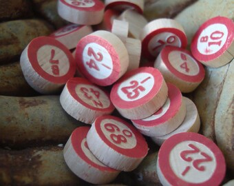 Vintage Wooden Bingo Number Game Pieces lot of 25 Adorable