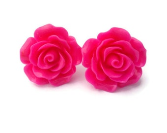 Pinup Hot Pink Rose Earrings Rockabilly Large Flower Jewelry