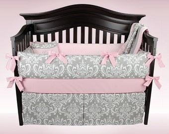KAITLYN 5 Piece Baby Bedding Set | Gray and White Damask with Pink or Lavender