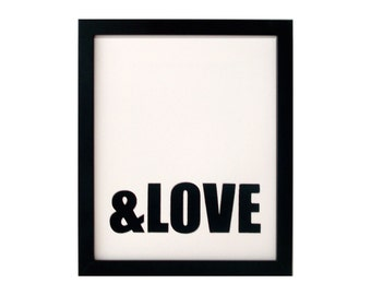 SALE HALF OFF ampersand love screenprinted poster - black