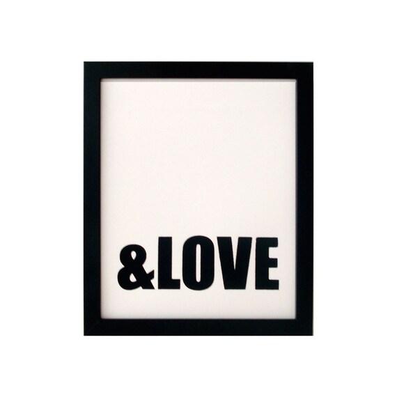 SALE HALF OFF ampersand love screenprinted poster - black