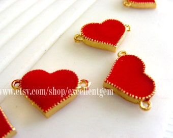 Gold plated Double sided Enamel coating Heart Connector in red color