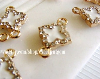 10 pcs 14k Gold tone Duble-sided Rhinestone Clover Connector in white color-14mmx20mm