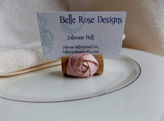 Wine Cork Place Card Holder with Silk Rosette wedding decor party decor place settings