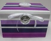 Wedding Recipe Box with Monogram Plaque- Shades of Purple and Gray