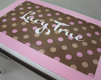 Pink Brown and Latte Polka Dot  Personalized Sturdy Stool