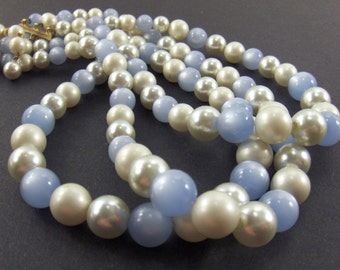 Vintage Necklace  - Triple Strand of Beads - Blue and Faux Pearl Costume Jewelry - Converged Commodities - vestiesteam epsteam