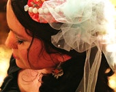 Reserved for Jessica: Osanna// OOAK Handmade Fascinator, Whimsical, Vintage Fabric, Rhinestones, Tulle, Vintage Jewel