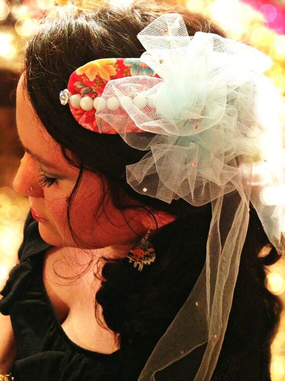 Reserved for Jessica: Osanna// OOAK Handmade Fascinator, Whimsical, Vintage Fabric, Rhinestones, Tulle, Vintage Jewel
