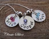Custom 3 Name Necklace for Mom with Swarovski Crystals