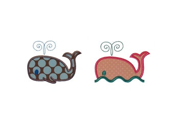 "Whale Set Applique Machine Embroidery Designs Patterns 2 variations in 4 sizes each 4"", 5"", 6"" and 7"""