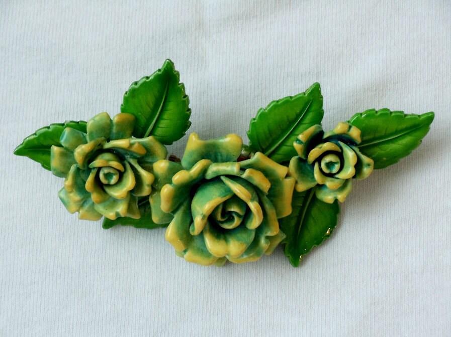 lovely vintage 1950s60s germany green roses brooch. Black Bedroom Furniture Sets. Home Design Ideas