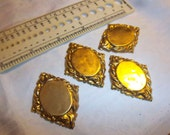 Destash Large Cabochon Settings Vintage Deep Detail Raw Brass Stamping 4 Pc/Lot 22x28mm