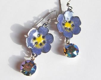 Purple flower enamel earrings Mixed media pansy drop dangles gift for women Bohemian botanical jewelry Sale