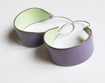 Purple and green hoop earrings Big colorful enamel earrings Bohemian enamel jewelry