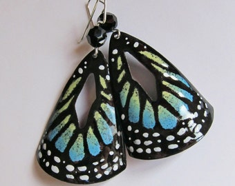 Blue butterfly wing enamel earrings Large statement hand painted dangles Big handpainted earrings Nature inspired jewelry One of a kind