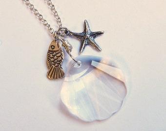 Beach jewelry Seashell cluster necklace pendant Starfish swarovski crystal necklace Sealife jewelry
