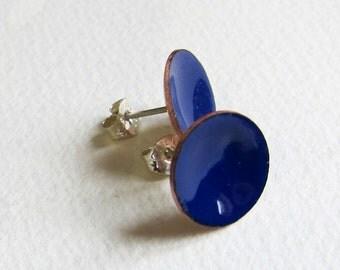 Royal blue enamel stud earrings Small navy blue button post earrings Minimalist enamel jewelry