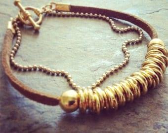 Gold beaded bracelet,  gold bracelet with beads, gold link beads, simple gold bracelet