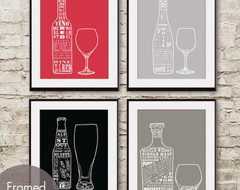 Red Wine, White Wine, Beer and Whiskey (Top Shelf Alcohol Series) Set of 4 - Art Prints (Featured in Assorted Colors)