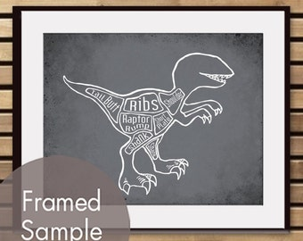 Velociraptor, A.k.a. Raptor Dinosaur Butcher Diagram - Art Print (Featured in Charcoal) (Buy 3 and get One Free)