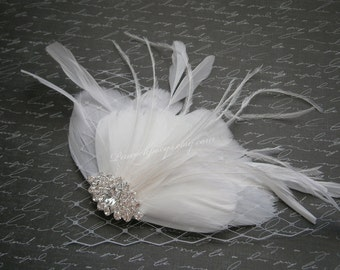 Bridal, hair, white, Feather, Feathered, Fascinators, accessory, Brides, Accessories, Facinator, wedding, clips, Brides - WHITE HEAVEN