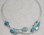 Blue and Silver Dragonfly Illusion necklace