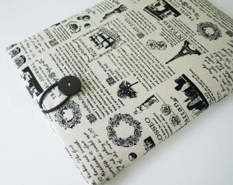 SALE- ipad case sleeve for Ipad 3  /ipad 4 - Padded sleeve- Paris newspaper