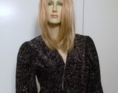 Vintage-Black Velvet-Cropped Jacket with Multi-Colored-Glitter & Metallic Silver Trim-By Jeri Marque-Size 10