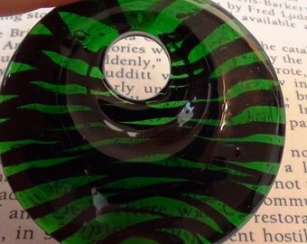 Black and Green Lampwork Murano Style Donut Pendant