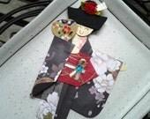 1pc - Origami Japanese Geisha Bookmark Black Pink Floral Kimono