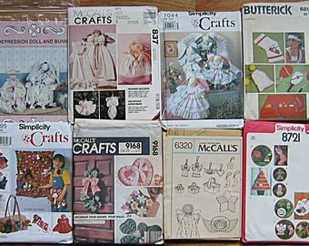 Lot of 8 Craft & Doll Patterns, Simplicity 8721, 7695, 7044, Butterick 6815, McCall's 837, 9168, 6320, Depression Doll and Bunny