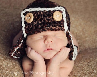 The AVIATOR Hat Newborn Photo prop in BROWNS Photography Shoot all babies The Perfect GIFT Newborns Flyer Bomber Beanie Hat New Baby Photo