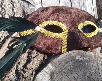 Brown Velvet Domino Mask with Iridescent Feathers and Pearl Accents