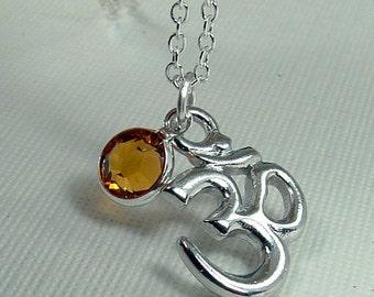 Om Necklace, Silver Om Jewelry, Silver Om necklace, Chakra Jewelry, Yoga Necklace, Yoga Jewelry, Birthstone Om Jewelry