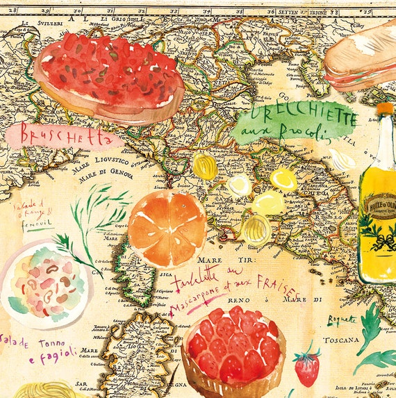 Italy map italian decor watercolor art on by lucileskitchen for Italian decoration food