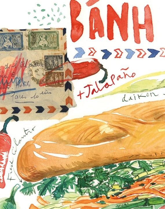 Banh Mi Vietnamese Sandwich Ilration Print Kitchen Art Ilrated Recipe Vietnam Art Food Poster Watercolor Painting Home Decor
