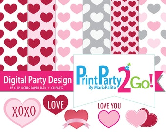 Valentine clipart and digital paper, valentine Collection, love hearts Digital paper and Clipart  set A495