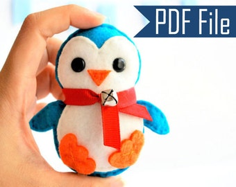 Penguin Pattern, Baby Penguin, Christmas Ornament, Pdf Sewing Pattern, Instant Download  A656