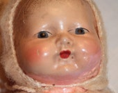 Antique Doll Composite with Vintage Knit Doll Outfit 1940s