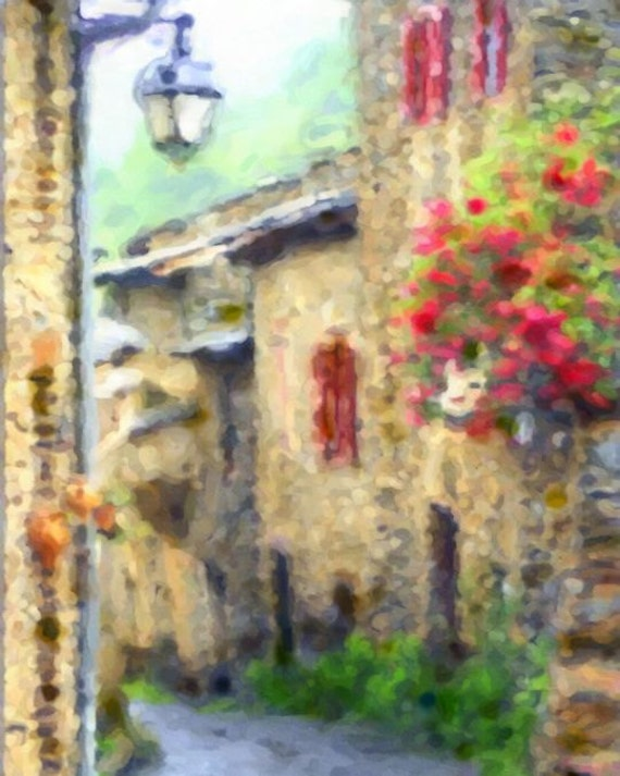 Watercolor Painting French Village 8x10 Giclee Art Print France Flowers