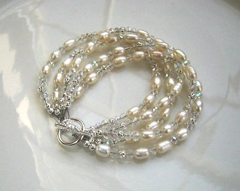 Multistrand White Freshwater Pearl Bracelet Pearl Bridal Bracelet Pearl Wedding Bracelet Wedding Jewelry