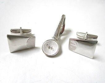 Mens Silver Cuff Links Tie Clip Mans Vintage Signed Shields Sarah Coventry