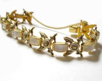 "Vintage Damascene Bracelet White Pearl Cabochon Sword 6 1/2"" Crossing Swords Vintage Jewelry Gift Idea Under 50 for Her"