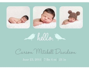 Tri Photo Birth Announcement BOY GIRL ANNOUNCEMENT