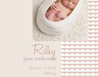 Photo Birth Announcement Scalloped  BOY GIRL PHOTO