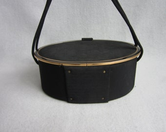 On Sale Vintage 60s Box Purse. Black Oval handbag. Jackie O Camelot