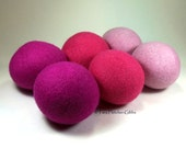 Wool Dryer Balls - Pretty in Pink - Set of 6 Eco Friendly - Can be Scented or Unscented